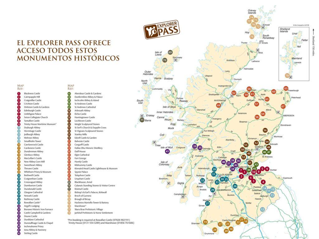 Mapa de monumentos visitables con la tarjeta Explorer Pass de Escocia