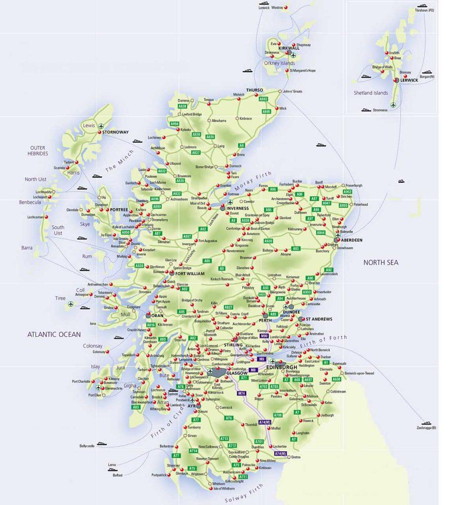 Mapa de ciudades de Escocia