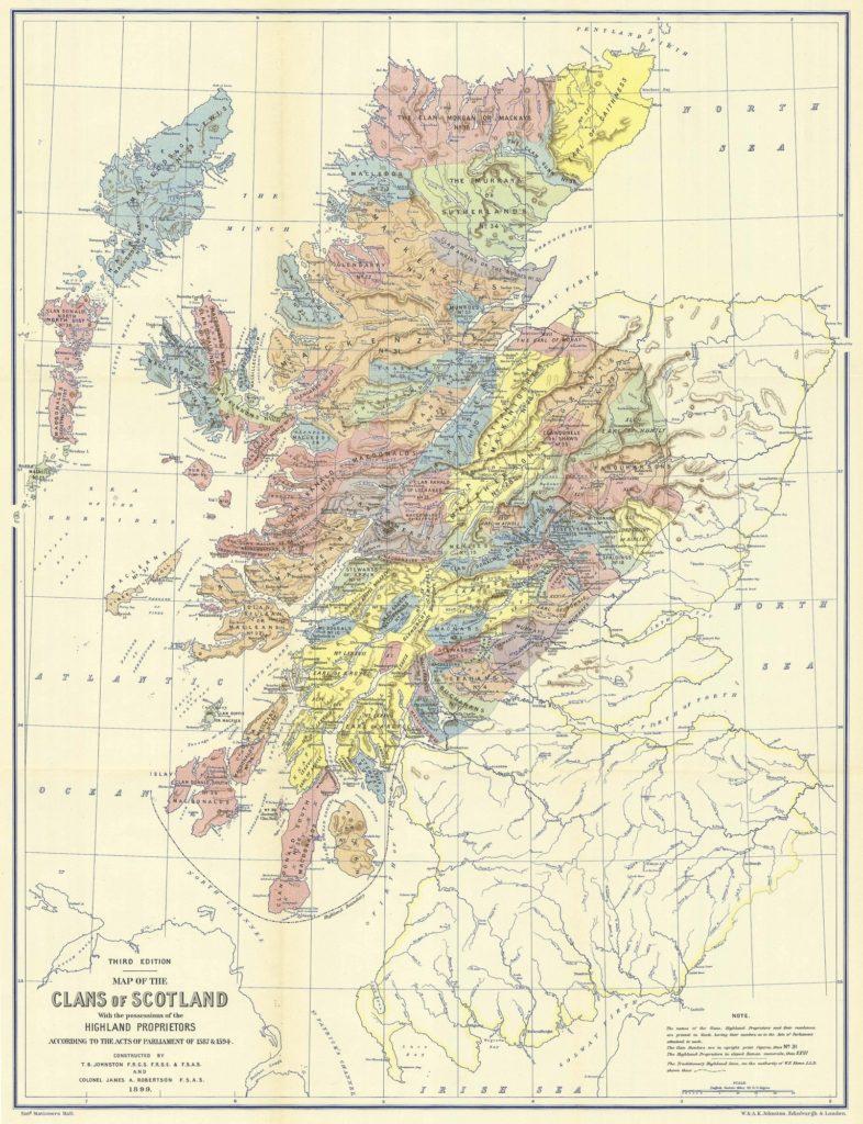 Mapa de los clanes de Escocia