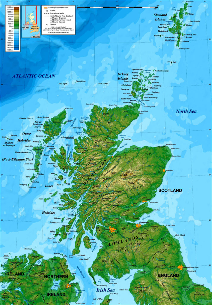 Mapa físico de Escocia