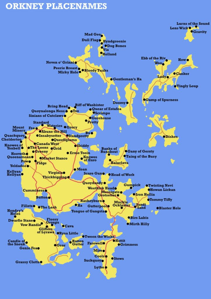 Mapa de la Poblaciones de las Islas Orcadas