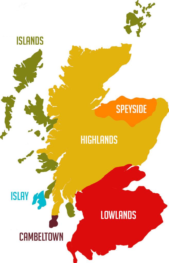 Mapa de regiones de whisky en Escocia