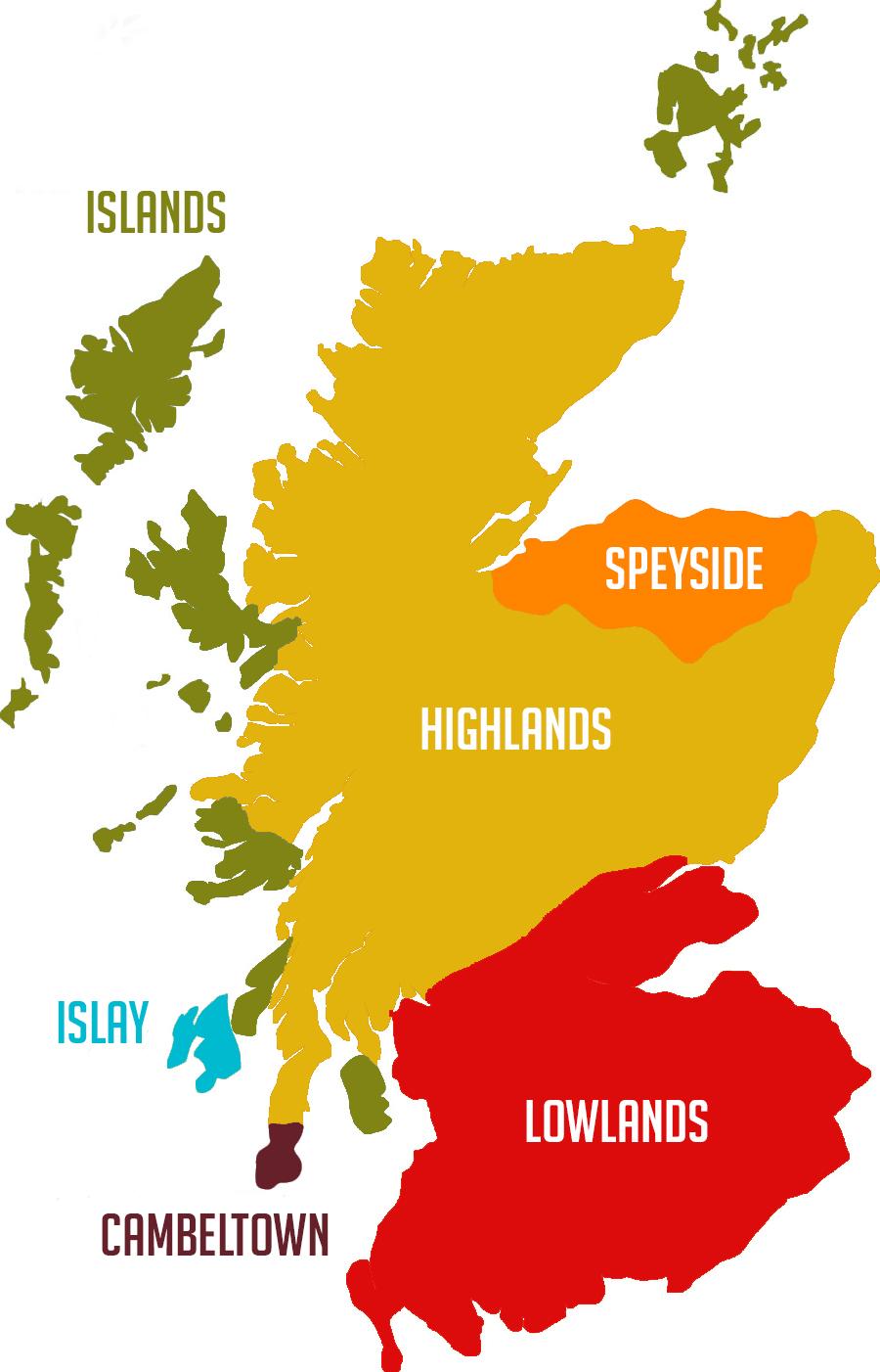 Mapa de Escocia, hogar de uno de los mejores whiskies del mundo