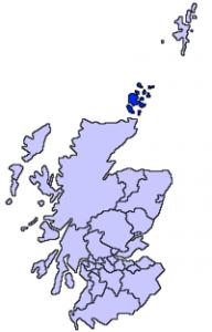 Las Islas Orcadas marcadas en color azul