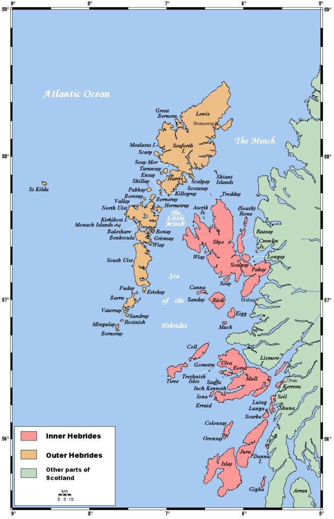Mapa de las Islas Hébridas: Interiores y Exteriores