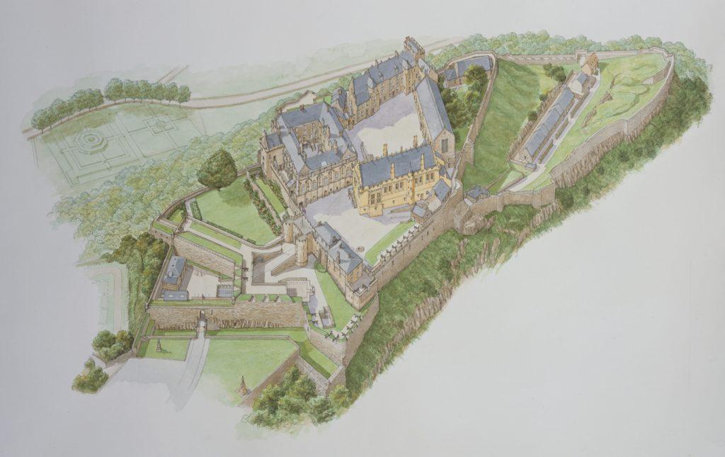 Mapa de las zonas del castillo de Stirling