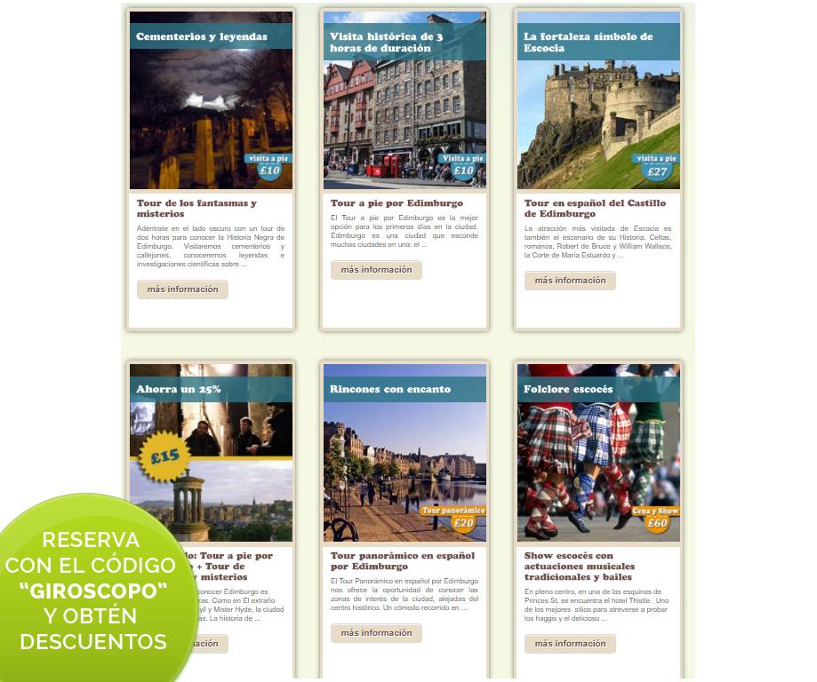 """Descuento en los tours en español por Escocia y Edimburgo con el código """"GIROSCOPO"""""""
