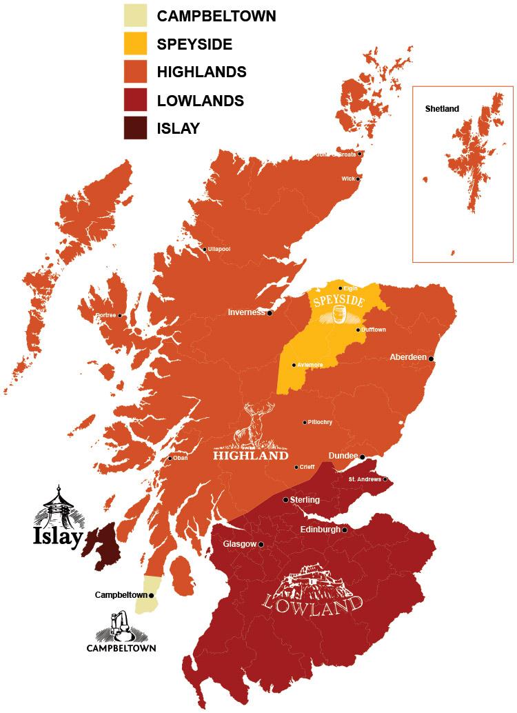 Mapa de las regiones de Whisky de Escocia